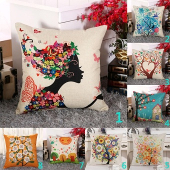 Vintage Linen Cotton Cushion Cover Throw Pillow Case Sofa HomeDecor Woman with Flower - intl