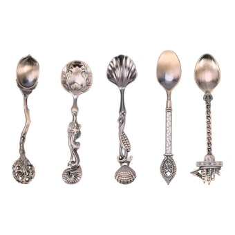 Vintage Royal Style Mini Coffee Dessert Spoons Carved Kitchen Dining Flatware Antique Copper - intl