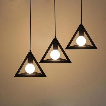 Vintage Triangle Chandelier Pendant Lamp Ceiling Light with Bulb - intl