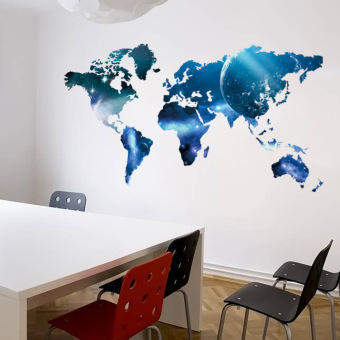 Wall Sticker Removable New Star Lollipop World Map Customer BedroomBackground (Blue-18-0.3)