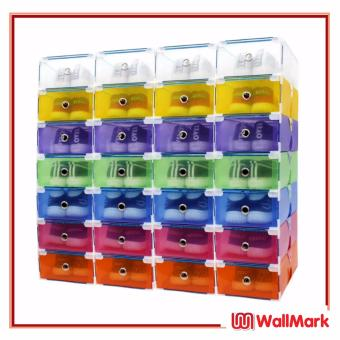 Wallmark Foldable Plastic Colorful Drawer Case Shoe Storage Organizer Stackable Box Set of 28
