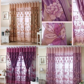 Windowdoor Curtain Jacquard Curtains Burnout Tulle for Window Living Room Cortinas Home Textiles Sheer Bedroom Door