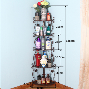 Wrought Iron floor bathroom shower gel triangle shelf bathroom shelf