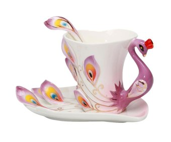 xfsmy Peacock Mugs Hand Crafted China Enamel Porcelain Tea Mug Coffee Cup Set with Spoon and Saucer,200ML (Purple) - intl Price Philippines