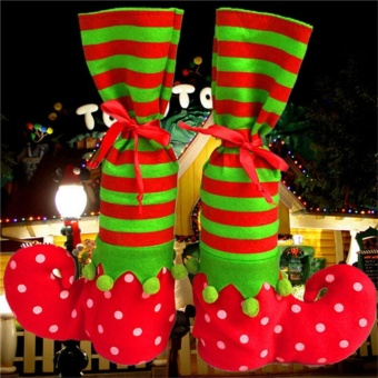 Xmas Elf Boot Shoes Stocking Christmas Tree Decoration HangingCandy Gift Multicolor - intl