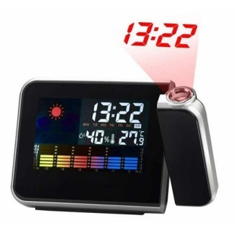 YBC LED Backlight Digital Weather Projection Alarm Clock WeatherForecast Station
