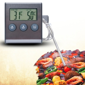 yieryi new Oven Probe Chicken/Steak Meat BBQ Grill FryThermometer&Timer Instant Read Smok Kitchen Food CookingTemperature with Alarm - intl