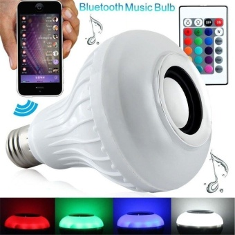Young Young Star Intelligent E27 LED White + RGB Light Ball Bulb Color Changing Lamp Smart Music Audio Bluetooth 3.0 Speaker With 24keys Remote Control For Home, Stage(White) - intl
