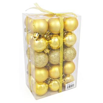 Yuletide Christmas Balls Round Shiny Multi-Texture Christmas DecorSET OF 30 (Small, 3.5cm)