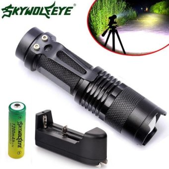 Zoom CREE Q5 2000LM Mini LED Flashlight Focus Torch Light+14500+Charger - intl(Black)