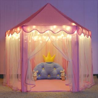 SMXNBB MALL Màu hồng Lều chơi cho trẻ em Cổ tích Công chúa Cô gái Bé trai Nhà chơi hình lục giác Nhà cho quà tặng (Ngôi sao năm cánh Ánh sáng trắng ấm áp) thumbnail