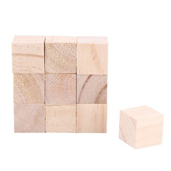10pcs 25mm Natural Wood Square Blocks Woodwork Craft Accessary -intl
