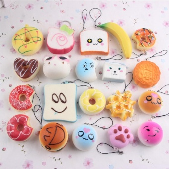 10pcs Small Soft Squishy Foods Cute Doughnuts Cakes Breads Handbag Pendant Buns Phone Straps Decoration - Random Delivery - intl