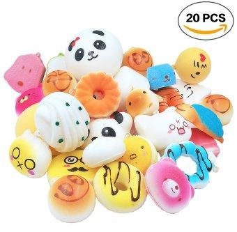 20 pcs Random Soft Squishy Panda/Bread/Cake Phone Straps