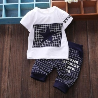 2017 Kids Boy clothes sets White Short Sleeve Star Printed t-shirt+pants sport suits for 0-3Year Boys - intl