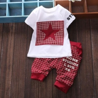 2017 Kids Boy clothes sets White Short Sleeve Star Printedt-shirt+pants sport suits for 0-3Year Boys - intl