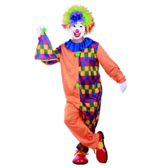 2PCS/Set Clown Cosplay Halloween Costumes for Adult Men Jumpsuit+Cap Size 170-180CM - intl