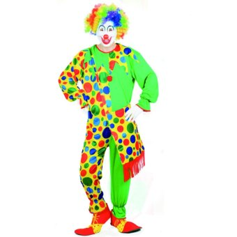 2PCS/Set Clown Cosplay Halloween Costumes for Adult MenJumpsuit+Cap Size 165-175CM - intl