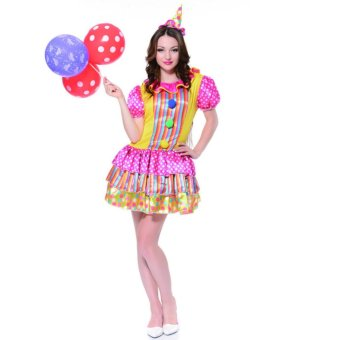 2PCS/Set Clown Cosplay Halloween Costumes for Adult WomenHeaddress+Dress Size 160-175CM - intl