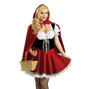 2PCS/Set Dress+Red Cape Adult Little Red Riding Hood Sexy Halloween Costumes for Women(Size M) - intl