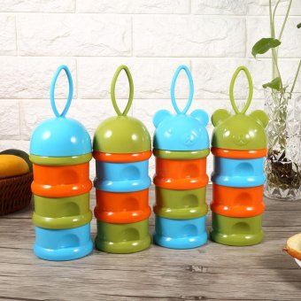 3 Layers Portable Infant Milk Powder Formula Dispenser Case BoxContainer (Blue Cap) - intl