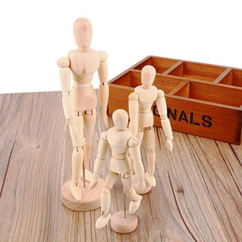 3pcs Artist Movable Limbs Male Wooden Toy Figure Model MannequinArt Sketch Draw Action Toy Figures 5.5 8 12inch - intl