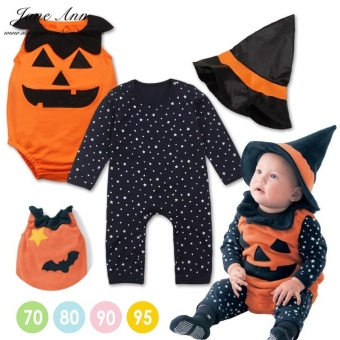 3pcs Halloween Baby Costume Pumpkin Clothing Set Stars Romper+pumpkin Vest +wizard Hat Infant Toddler Kids Boys Girls Clothes - intl