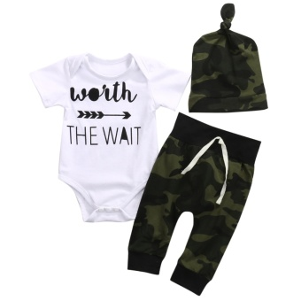 3PCS Newborn Baby Boys Clothing Set Romper +Camouflage Pants+ Hat Infant Clothes - intl