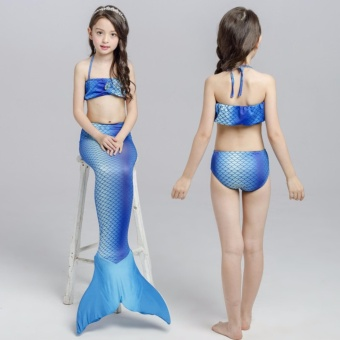 3Pcs Set New Kids Girls Mermaid Tail Swimmable Bikini Set Swimwear Swim Costume Beach Wear - intl
