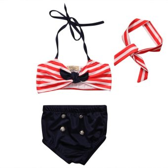 3PCS Summer Kid Girls Clothing Set Baby Bikini Stripe SwimsuitSwimwear Swimming Clothes Beachwear - Red - intl