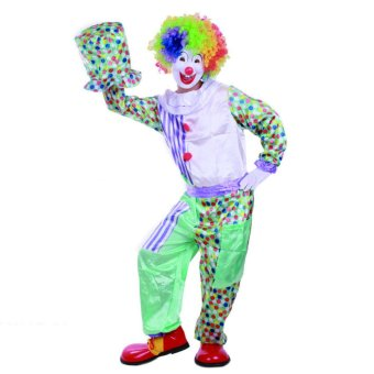 3PCS/Set Clown Cosplay Halloween Costumes for Adult MenJumpsuit+Cap+Belt Size 170-180CM - intl