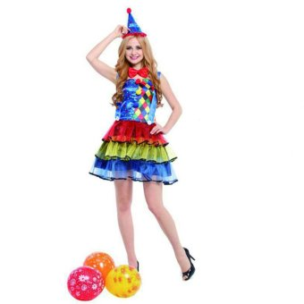 3PCS/Set Clown Cosplay Halloween Costumes for Adult WOMen Neckdecoration+Dressing+Headdress Size 155-175CM - intl