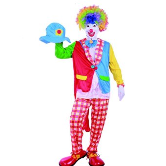 4PCS/Set Clown Cosplay Halloween Costumes for Adult Men Cap+Coat+Pant+Shirt Size 170-180CM - intl