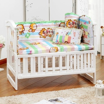 5Pcs/set Cotton Baby Cot Bedding Set Newborn Crib Bedding Detachable Pillow Bumpers Sheet Cot Bed Linen Crib Around Protection Baby Bed Bumper 100X58CM - intl