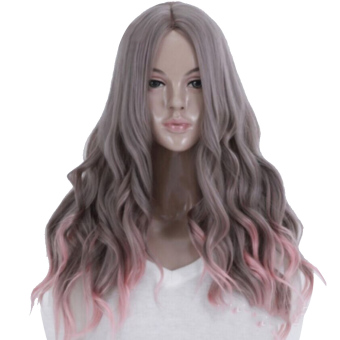 65cm Women's Long Wavy Curly Hair Extensions Wig for MasqueradeParty Halloween Christmas Cosplay Costume Wigs,Gray Pink Ombre Hair