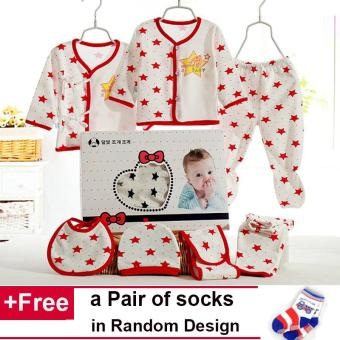 7PCS/SET Newborn Baby Boy Girl Cotton Warm T-Shirt Pants Suits Infant Baby Clothes Sets 0-3Months - intl