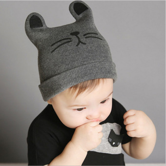 A Baby Infant Head Cap COTTON HAT Warm Hat Children Kitten and WoolHat Knitted Hat