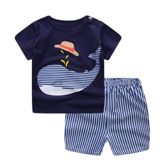 Baby Boy Clothes 2017 Kids Boys Dolphin Short Sleeve T-Shirt+Striped Shorts Tracksuit Outfits for 1-6Years - intl
