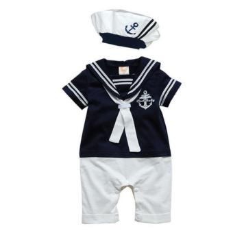 Baby Boy Sailor Romper Costume with Hat (Blue) (0-6 months)