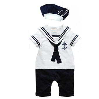Baby Boy Sailor Romper Costume with Hat (White) (12-18 months)