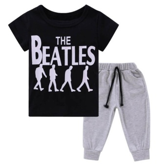 Baby Boys Summer Soft Cotton T-shirt Tops + Pants Outfit Clothes Sets (Black+Grey) - intl