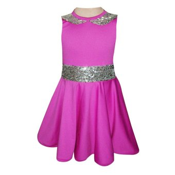 Baby Fashionista Sequined Belt Jersey Dress (Purple)