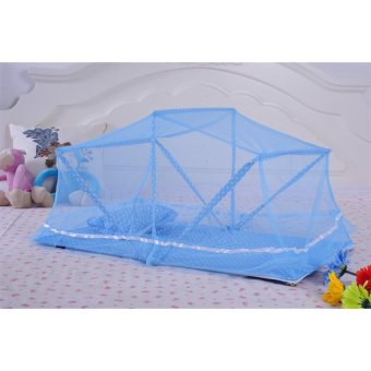 Baby Foldable Bed Canopy Mosquito Net Tent With Mattress Pillow(Blue)