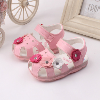 Baby girls Sandals Toddler First Walker Shoes Soft-soled HeelpieceFlashing light (pink) - Intl