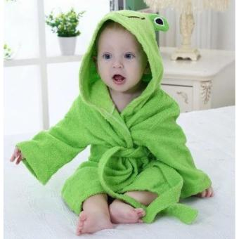 Baby Hooded Bathrobe Bath Towel - Frog Green