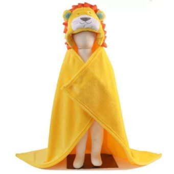 Baby Hooded Bathrobe Bath Towel - Yellow Lion