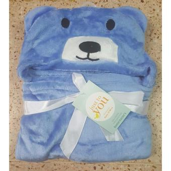 Baby Kid Hooded Bathrobe Bath Towel (BLUE)