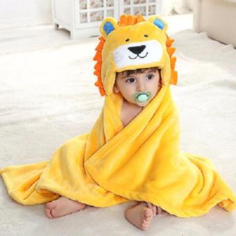 Baby Kid Hooded Bathrobe Bath Towel (yellow)