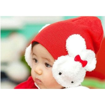 Baby Kids Woolen Newborn Baby Infant Toddler Hat Dual Rabbits Earmuffs Ear Cap Photo Prop Girls Velvet Knitted Cap Red - intl