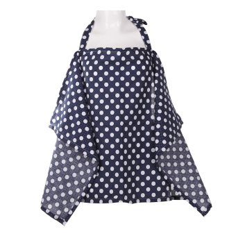 Baby Mum Breastfeeding Nursing Poncho Cover Up Cotton(Dark BlueDots) (Intl)